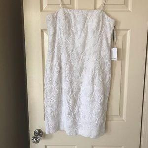 Calvin Klein Size 10 white rosette dress NWT